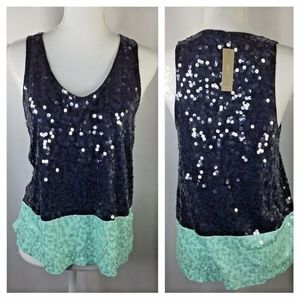 J. Crew~Sequined Tank~Two Tone~Colorblock~Navy~